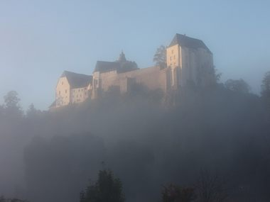 Mildenstein Castle in fog